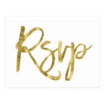 White And Gold Wedding RSVP Postcards