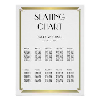 White And Gold Wedding Seating Chart Poster 18x24