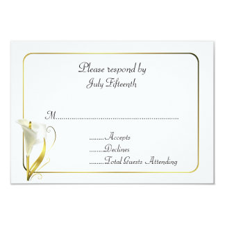 White and Gold with Calla Lily Wedding RSVP Card Custom Invites