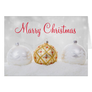 White and Golden Ball With Snow Merry Christmas Card