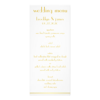 White And Golden Great Gatsby Wedding Menu Cards