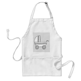 White and Gray Baby Pram. Adult Apron
