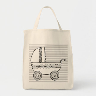 White and Gray Baby Pram. Grocery Tote Bag