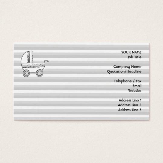 White and Gray Baby Pram. Business Card