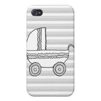 White and Gray Baby Pram. iPhone 4/4S Cases