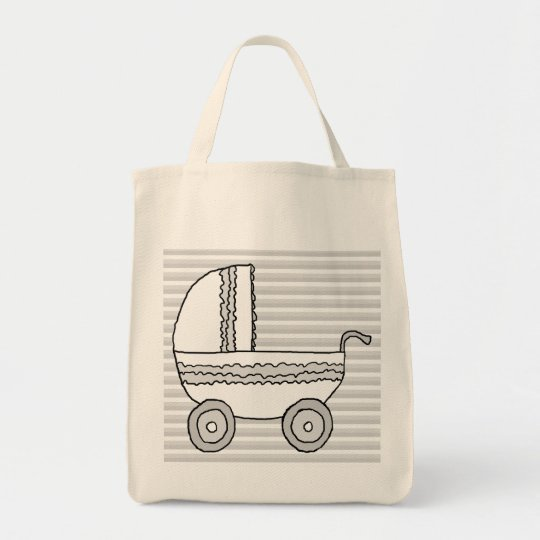 White and Gray Baby Pram. Tote Bag