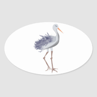 White and Gray Crane With Textured Feathers Oval Sticker