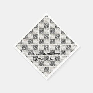 White and Gray Diamond Damask Disposable Napkin