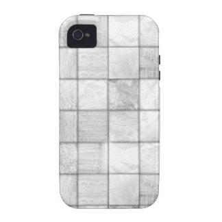 White And Gray Faux Patchwork Quilting Pattern Vibe iPhone 4 Cases
