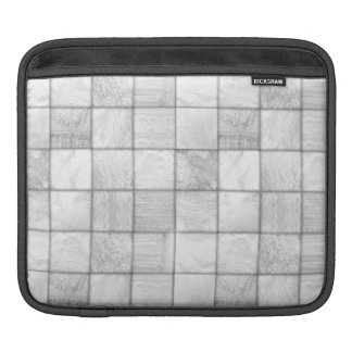 White And Gray Faux Patchwork Quilting Pattern Sleeves For iPads
