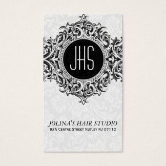 White And Gray Floral Ornament Business Card