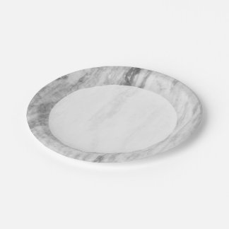 White And Gray Marble Texture Pattern Paper Plate