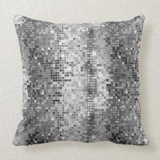 White And Gray Retro Disco-Ball Glitter 2 Throw Pillow