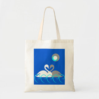 White and Gray Romantic Swans on Water Tote Bag