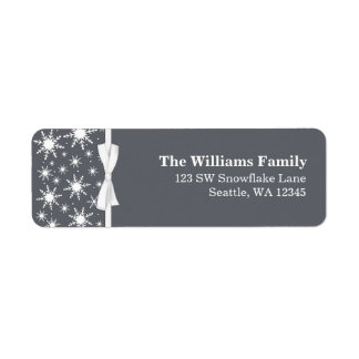 White and Gray Snowflakes Ribbon Christmas Address Label