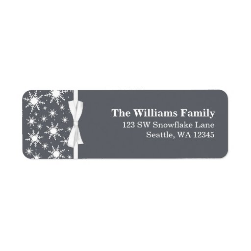 White and Gray Snowflakes Ribbon Christmas Address Return Address Label
