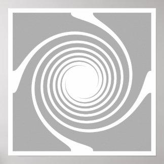 White and gray spiral design. print