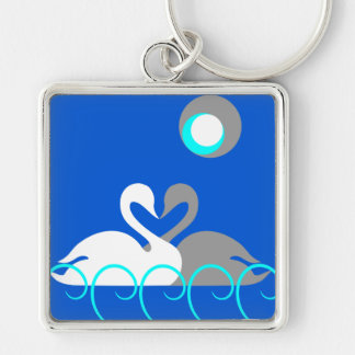 White and Gray Swans on Water Moon Background Keychain
