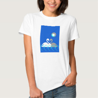 White and Gray Swans on Water T-shirt
