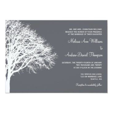 Christmas Themed White and Gray Winter Oak Wedding Card