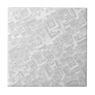 White and Gray with Retro Squares Pattern Tile