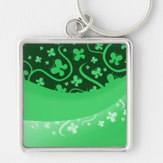 White And Green Abstract Butterflies Keychain