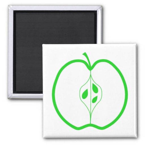 White and Green Apple Half. Fridge Magnet