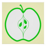 White and Green Apple Half. Poster