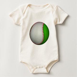 White and Green Baseball Baby Bodysuit
