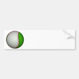 White and Green Baseball Bumper Sticker