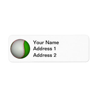 White and Green Baseball Label