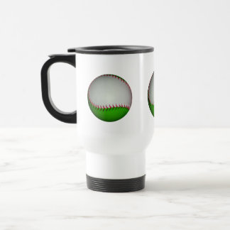 White and Green Baseball 15 Oz Stainless Steel Travel Mug