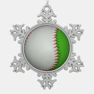 White and Green Baseball Snowflake Pewter Christmas Ornament