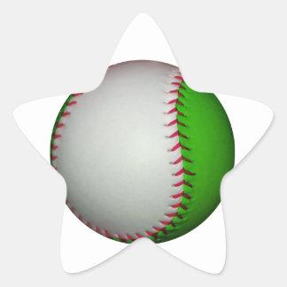 White and Green Baseball Star Sticker
