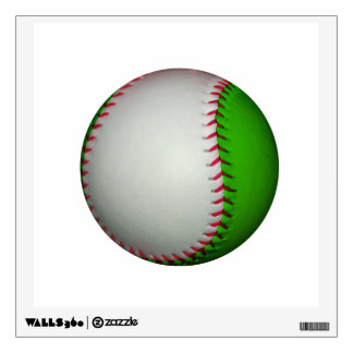 White and Green Baseball Wall Sticker