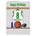 White and Green Basketball Jersey Birthday Cards
