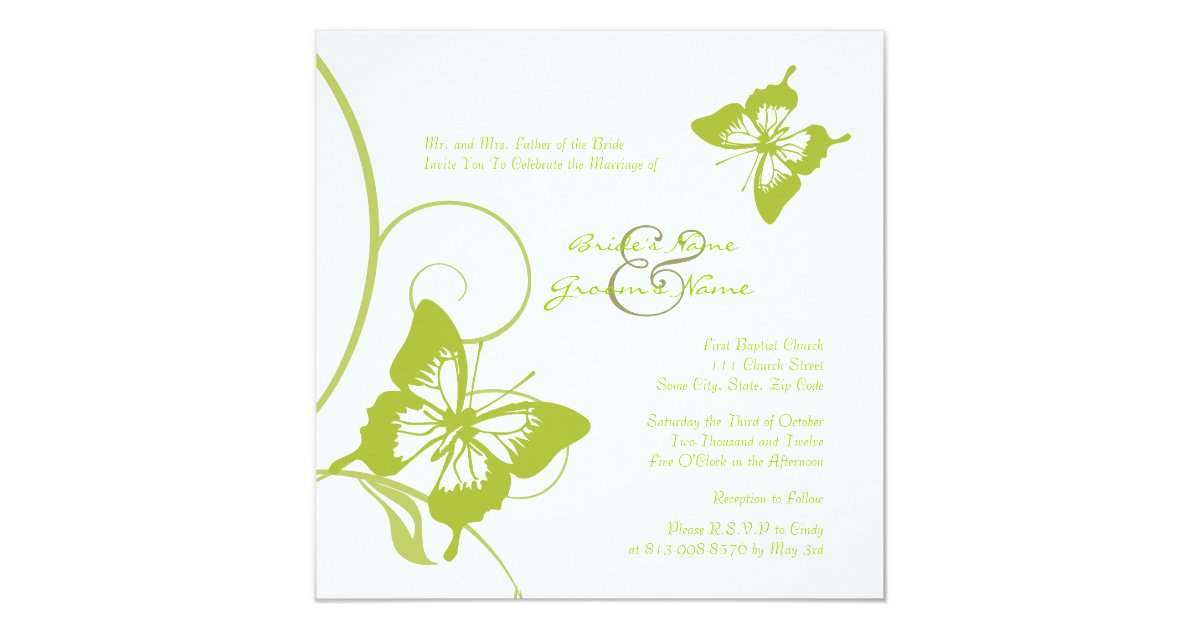 White And Green Wedding Invitations: White And Green Butterfly Wedding Invitation