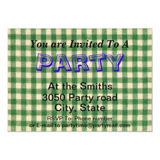 White and Green Checkered Tabletop Fabric Design 5x7 Paper Invitation Card
