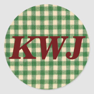 White and Green Checkered Tabletop Fabric Design Classic Round Sticker