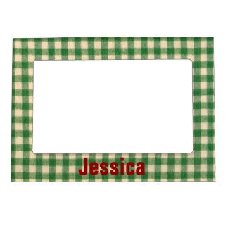 White and Green Checkered Tabletop Fabric Design Magnetic Photo Frame