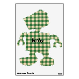 White and Green Checkered Tabletop Fabric Design Wall Decal