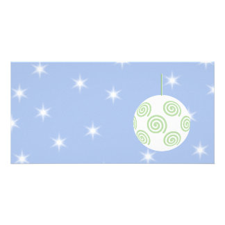White and Green Christmas Bauble. On Starry Blue. Photo Card