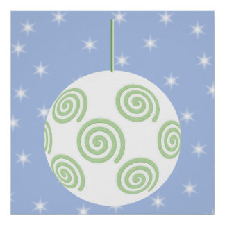 White and Green Christmas Bauble. On Starry Blue. Poster