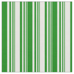 [ Thumbnail: White and Green Colored Lined Pattern Fabric ]