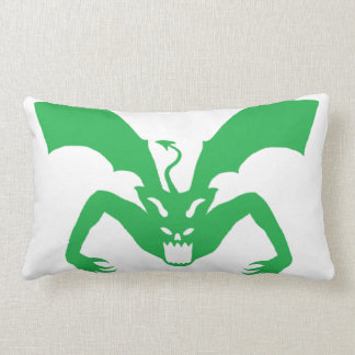 White And Green Devil Lumbar Pillow