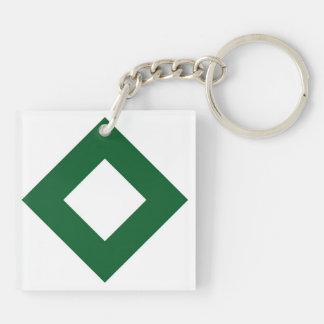 White and Green Diamond Pattern Acrylic Key Chains