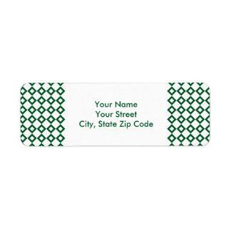 White and Green Diamond Pattern address label