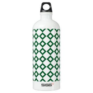 White and Green Diamond Pattern Aluminum Water Bottle