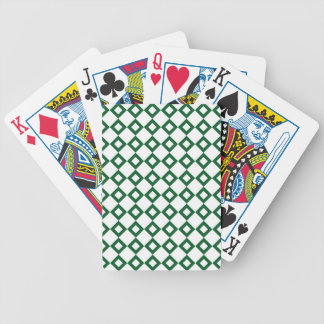 White and Green Diamond Pattern Bicycle Playing Cards