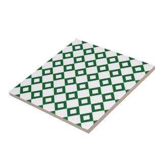White and Green Diamond Pattern Ceramic Tile